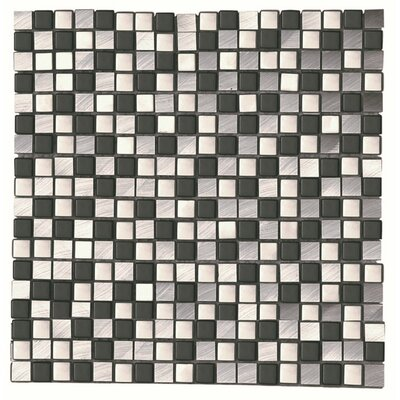Akira Nero 0.66 x 0.66 Aluminum Mosaic Tile in Black/Gray