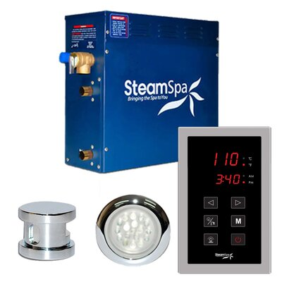 SteamSpa Indulgence 6 KW QuickStart Steam Bath Generator Package in Polished Chrome