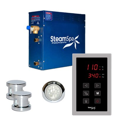 SteamSpa Indulgence 12 KW QuickStart Steam Bath Generator Package in Polished Chrome