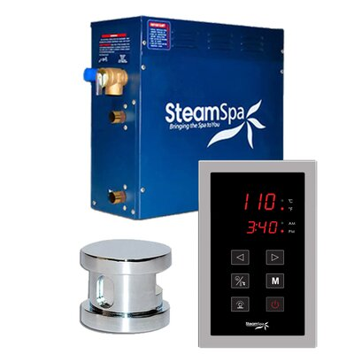 SteamSpa Oasis 4.5 KW QuickStart Steam Bath Generator Package in Polished Chrome
