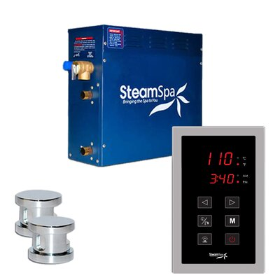SteamSpa Oasis 12 KW QuickStart Steam Bath Generator Package in Polished Chrome