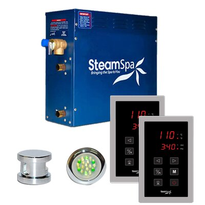 SteamSpa Royal 9 KW QuickStart Steam Bath Generator Package in Polished Chrome