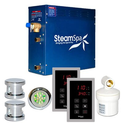 SteamSpa Royal 12 KW QuickStart Steam Bath Generator Package in Polished Chrome