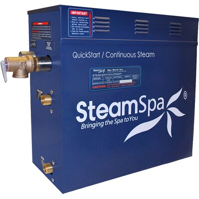 Oasis 12 kW QuickStart Steam Bath Generator Package with Built-in Auto Drain Finish: Polished Chrome
