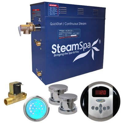 Indulgence 10.5 kW QuickStart Steam Bath Generator Package with Built-in Auto Drain Finish: Polished Chrome