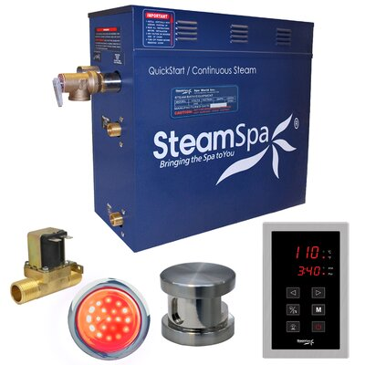 Indulgence 6 kW QuickStart Steam Bath Generator Package with Built-in Auto Drain Finish: Brushed Nickel