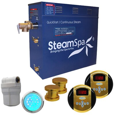SteamSpa Royal 12 KW QuickStart Steam Bath Generator Package Finish: Gold
