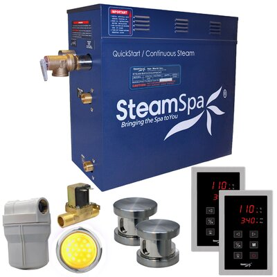 Royal 12 kW QuickStart Steam Bath Generator Package with Built-in Auto Drain Finish: Brushed Nickel