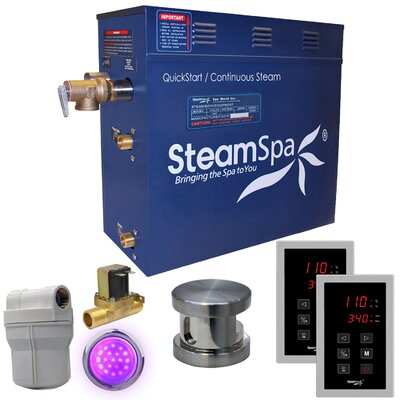 Royal 7.5 kW QuickStart Steam Bath Generator Package with Built-in Auto Drain Finish: Polished Chrome