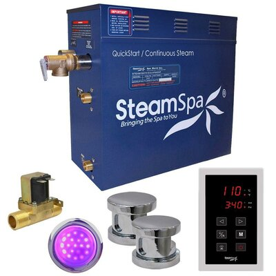 Indulgence 12 kW QuickStart Steam Bath Generator Package with Built-in Auto Drain Finish: Polished Chrome
