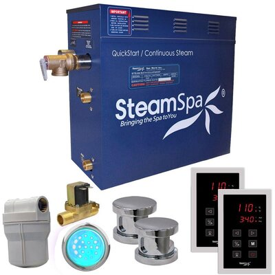 Royal 10.5 kW QuickStart Steam Bath Generator Package with Built-in Auto Drain Finish: Polished Chrome