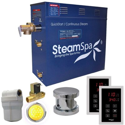 Royal 4.5 kW QuickStart Steam Bath Generator Package with Built-in Auto Drain Finish: Polished Chrome