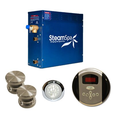 SteamSpa Indulgence 12 KW QuickStart Steam Bath Generator Package Finish: Brushed Nickel