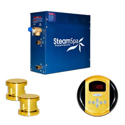 SteamSpa Oasis 12 KW QuickStart Steam Bath Generator Package Finish: Gold