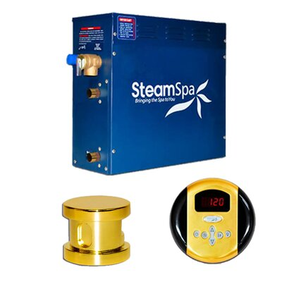 SteamSpa Oasis 9 KW QuickStart Steam Bath Generator Package Finish: Gold