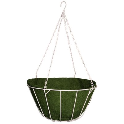 "Robert Allen Home and Garden Chateau Round Wire Hanging Basket - Size: 12"", Color: Green"