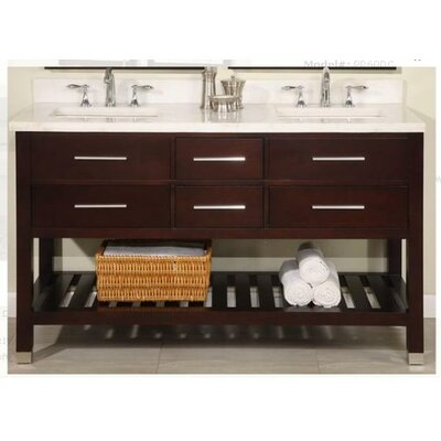 Furniture-Priva 60 Double Open Bathroom Vanity Set