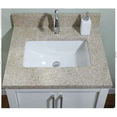 Euro Granite Single Bathroom Vanity Top Finish: Golden Peach, Size: 25 x 22 for 24 Vanities, Bowl Configuration: Biscuit Bowl