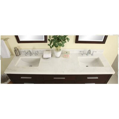 Euro 61 Marble Vanity Top Top Finish: Carrera White, Bowl Configuration: No Bowl