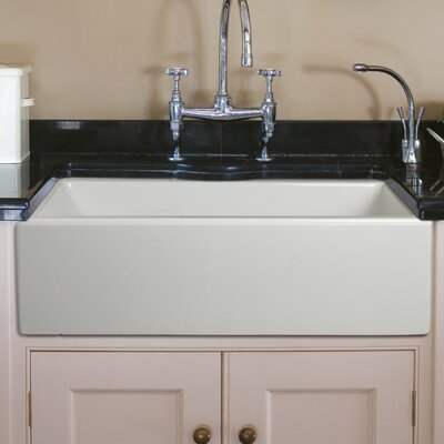 Caesar 30x18 Reversible Thick-Edge Fireclay Farmhouse Kitchen Sink Set with Free Grid