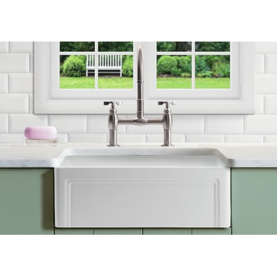 Olde London Reversible 33 x 18 Farmhouse Kitchen Sink with Grid