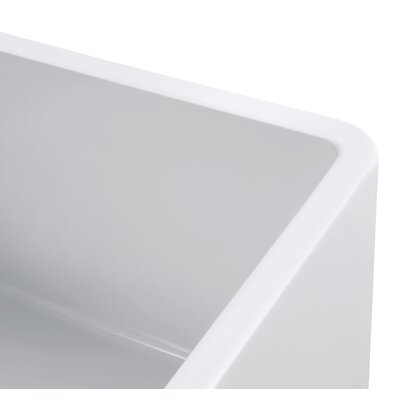 Sutton Place Reversible Double Bowl Fireclay 33 x 18 Farmhouse Kitchen Sink and Grids