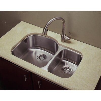 31.88 x 17.75 Shallow D-Shape Double Undermount Kitchen Sink