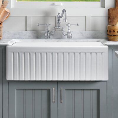 Sutton Place Reversible Single Bowl Fluted Front Fireclay 33 x 18 Farmhouse Kitchen Sink and Grid