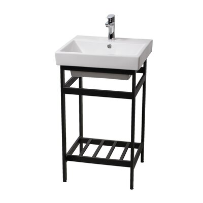 Burnsdale Stainless Steel Open Console 20.3 Single Bathroom Vanity Set Base Finish: Black