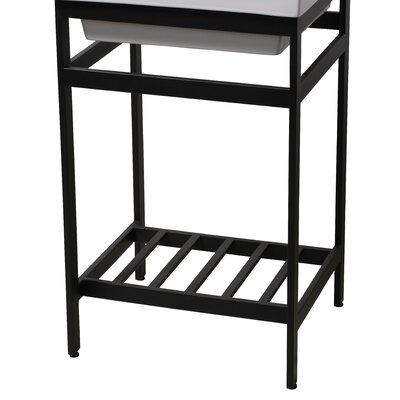 Arverne Stainless Steel Open Console 18 Single Bathroom Vanity Set Finish: Black