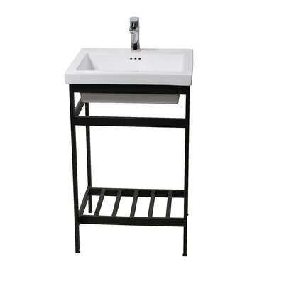 Arverne Stainless Steel Open Console 21 Single Bathroom Vanity Set Finish: Black