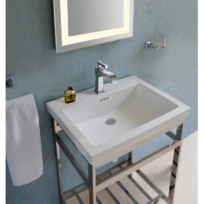 Arverne Stainless Steel Open Console 24 Single Bathroom Vanity Set Finish: Polished