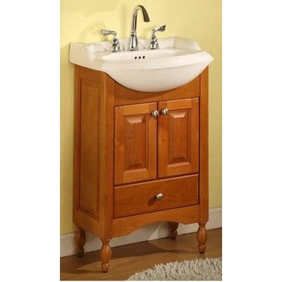 Windsor Narrow Depth Bathroom Vanity Base Size: 22, Base Finish: Light Cherry