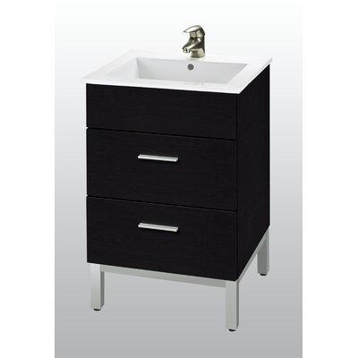 "Empire Industries Daytona 21"" Single Bathroom Vanity Set (2 Pieces) - Base Finish: Black Gloss, Hardware: Satin"