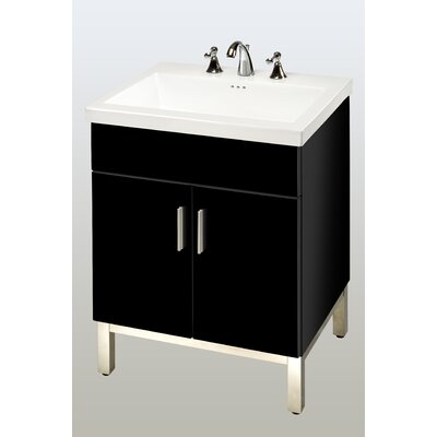 Daytona 23 Single Bathroom Vanity Base Hardware: Satin, Base Finish: Black Gloss