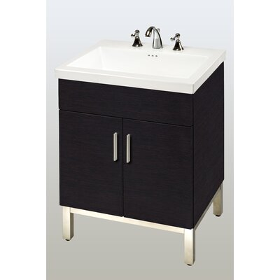 Daytona 23 Single Bathroom Vanity Base Hardware: Polished, Base Finish: Black Gloss