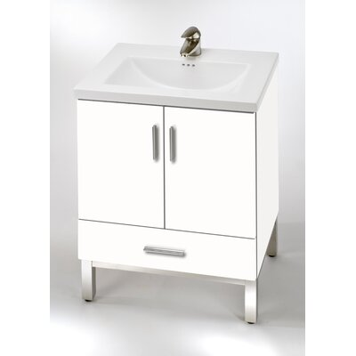 Daytona 23 Single Bathroom Vanity Base Hardware: Satin, Base Finish: White Gloss
