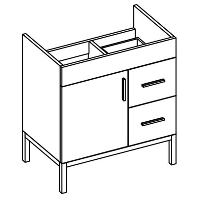 Daytona 38.5 Bathroom Vanity Base Hardware: Polished, Drawer Side: On Right, Base Finish: Pickled Oak