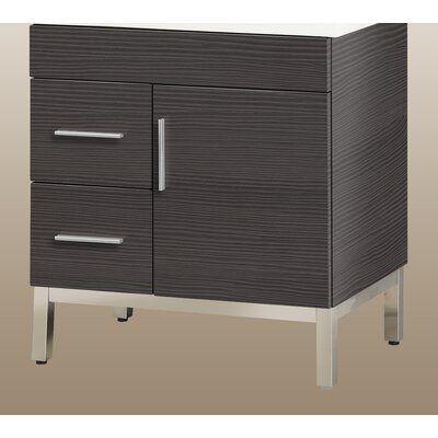 Daytona 28.5 Single Bathroom Vanity Base Base Finish: Greyline Gloss, Hardware: Satin, Orientation: Left