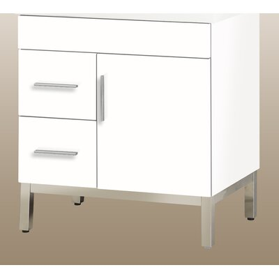 Daytona 28.5 Single Bathroom Vanity Base Orientation: Left, Hardware: Satin, Base Finish: White Gloss