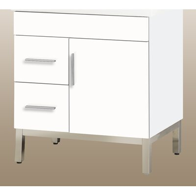 Daytona 28.5 Single Bathroom Vanity Base Hardware: Polished, Orientation: Right, Base Finish: White Gloss
