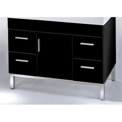 Daytona 38.5 Single Bathroom Vanity Base Base Finish: Black Gloss, Hardware: Satin