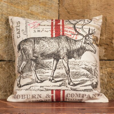 Deer with Stripe Linen Throw Pillow