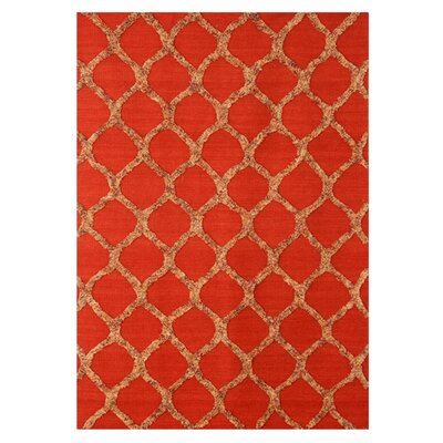 Bliss Hand-Woven Wool Red Rug Rug Size: 8 x 10