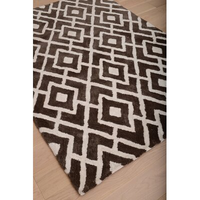 Lifestyle Gates Hand Tufted White/Dark Brown Area Rug Rug Size: Rectangle 5 x 8
