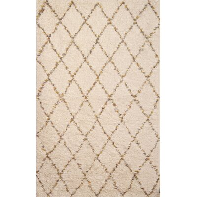 Louisville Moroccan Hand-Woven White/Gold Area Rug Rug Size: 8 x 10