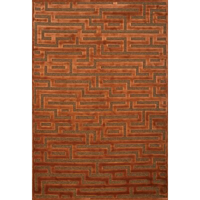 Teague Rust/Medium Brown Maze Area Rug Rug Size: 53 x 76
