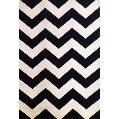 Foulds Chevron Black/Ivory Area Rug Rug Size: 53 x 76