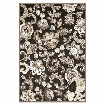 Louisa Black/Grey/Ivory Area Rug Rug Size: 53 x 76