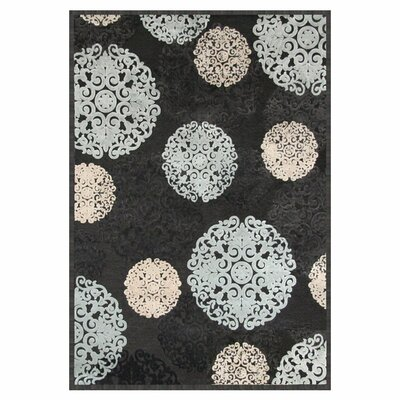 Baxter Charcoal/Ivory/Light Blue Area Rug Rug Size: 53 x 76